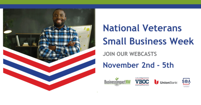 National Veterans Small Business Week Banner