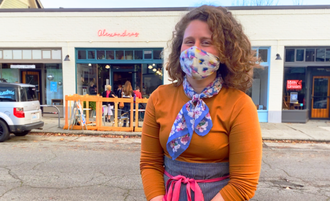 Alexandra Greenwald in Front of Her Storefront