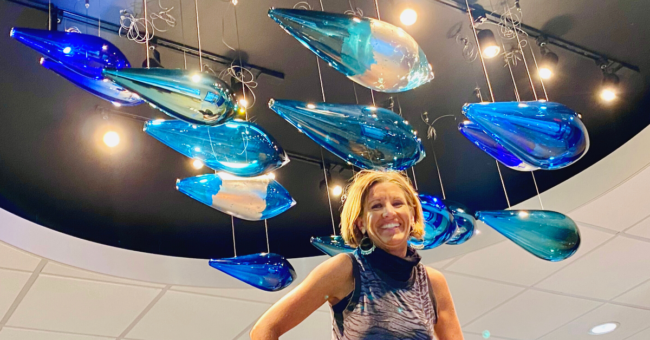 Julie Conway with her Sound Credit Union Installation